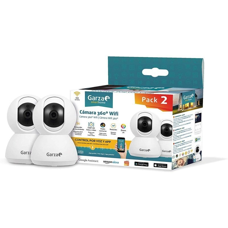 Garza Smarthome Pack 2 Câmaras Vigilância HD WiFi 360º